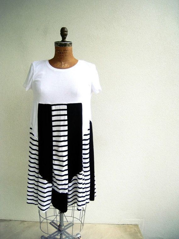 t shirt dress white black stripe empire waist knee