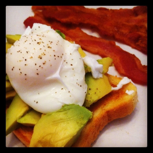 Egg and Avocado on Toast with Bacon | co-YUM-bo | Pinterest