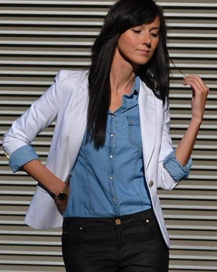white blazer + chambray + black trousers