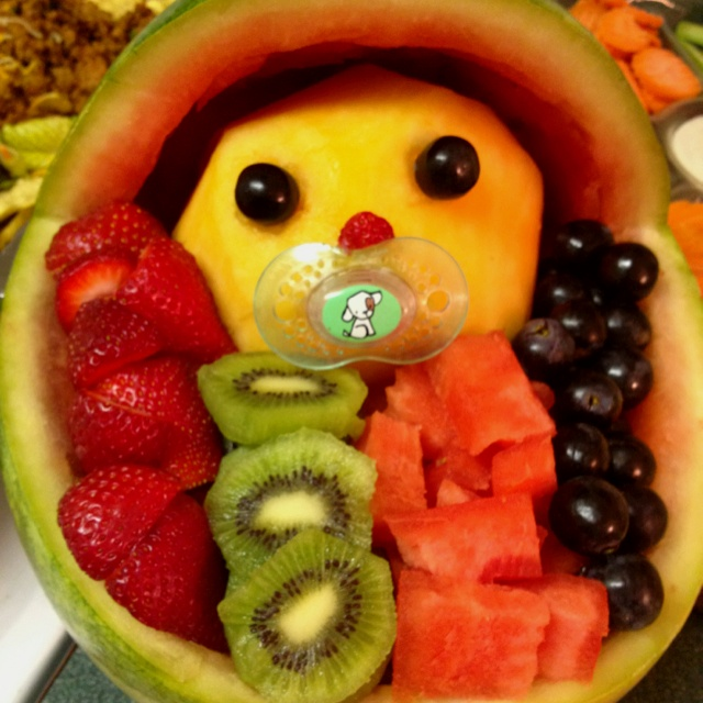 baby shower fruit bowl baby in watermelon cradle