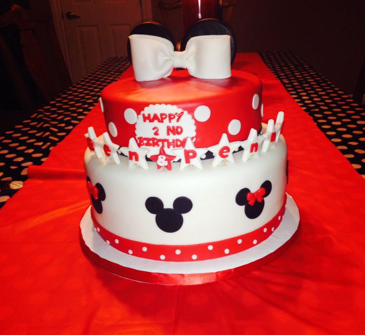 ... and minnie twins birthday cake !!  Ben and penny 2nd birthday