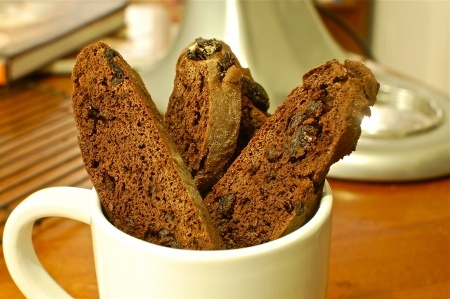 Chocolate Cherry Biscotti, made with nuts.com dried sour cherries! # ...