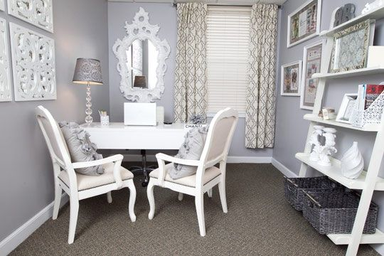 Gray and white office my office pinterest Gray office ideas