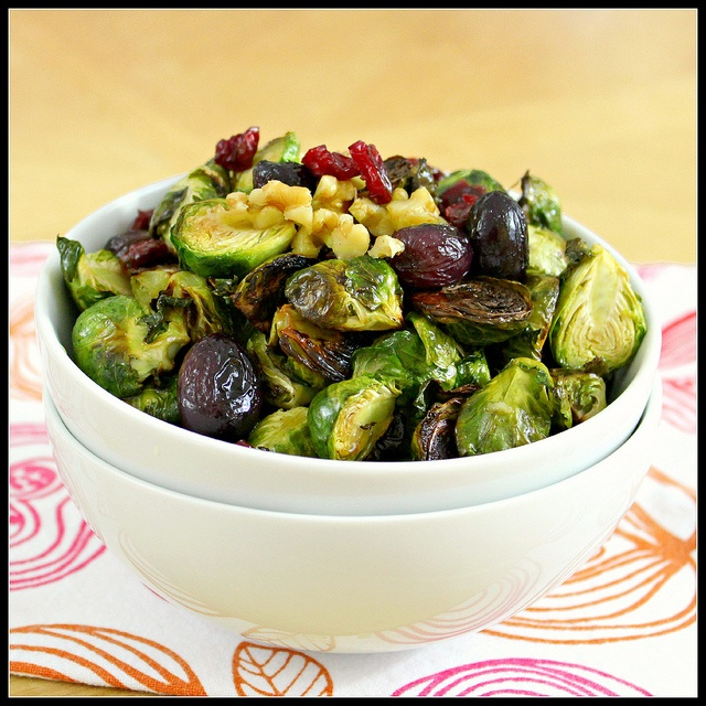 Roasted Brussels Sprouts and Grapes with walnuts and dried cranberries