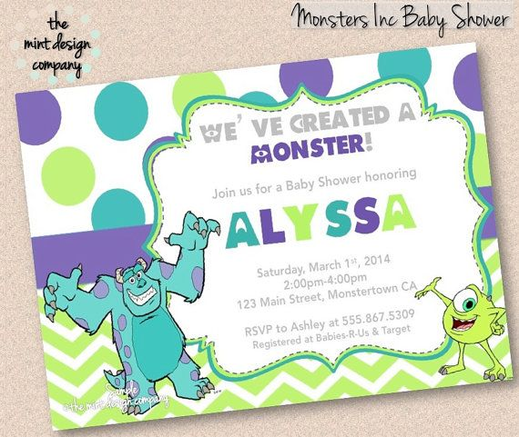 monsters inc baby shower invitation boy or girl printable photo or pdf
