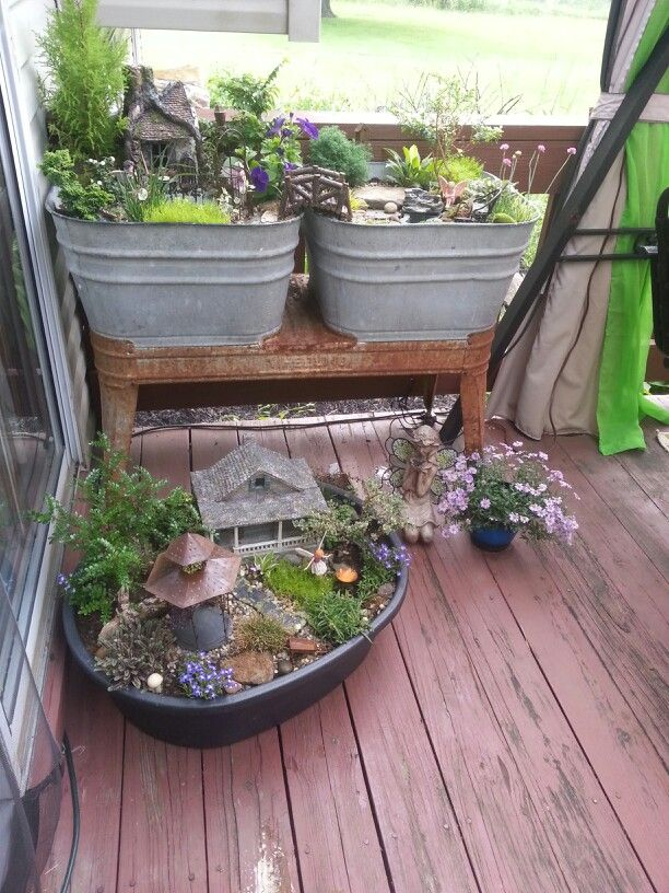 Fairy gardens in containers galore fairy garden pinterest - Fairy garden containers ...
