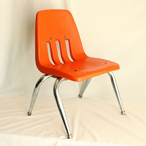 Vintage chair kids chair childs chair orange for Orange kids chair