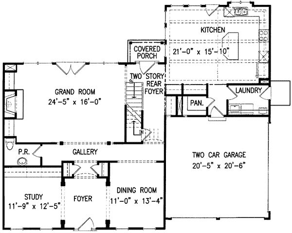 Classic Center Hall Home Plan