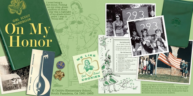 scrapbook layout of  Scout memories