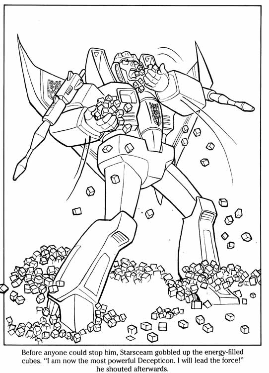 Transformerstarscream free colouring pages for Starscream coloring page