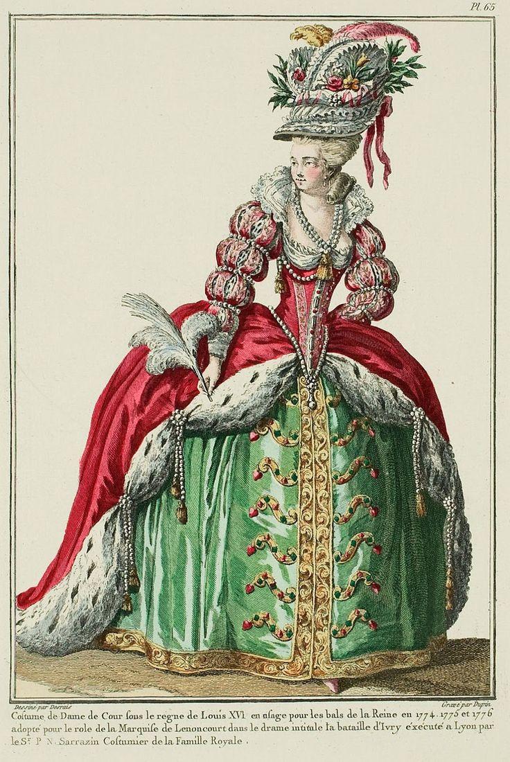 Galerie Des режимы, 18е Cahier, 1ere рис.  Античный французский пластины моды.  Большинство очаровывания Благоустройство