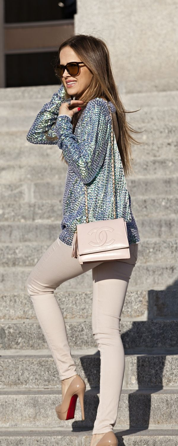 Grey Flashy Blouse