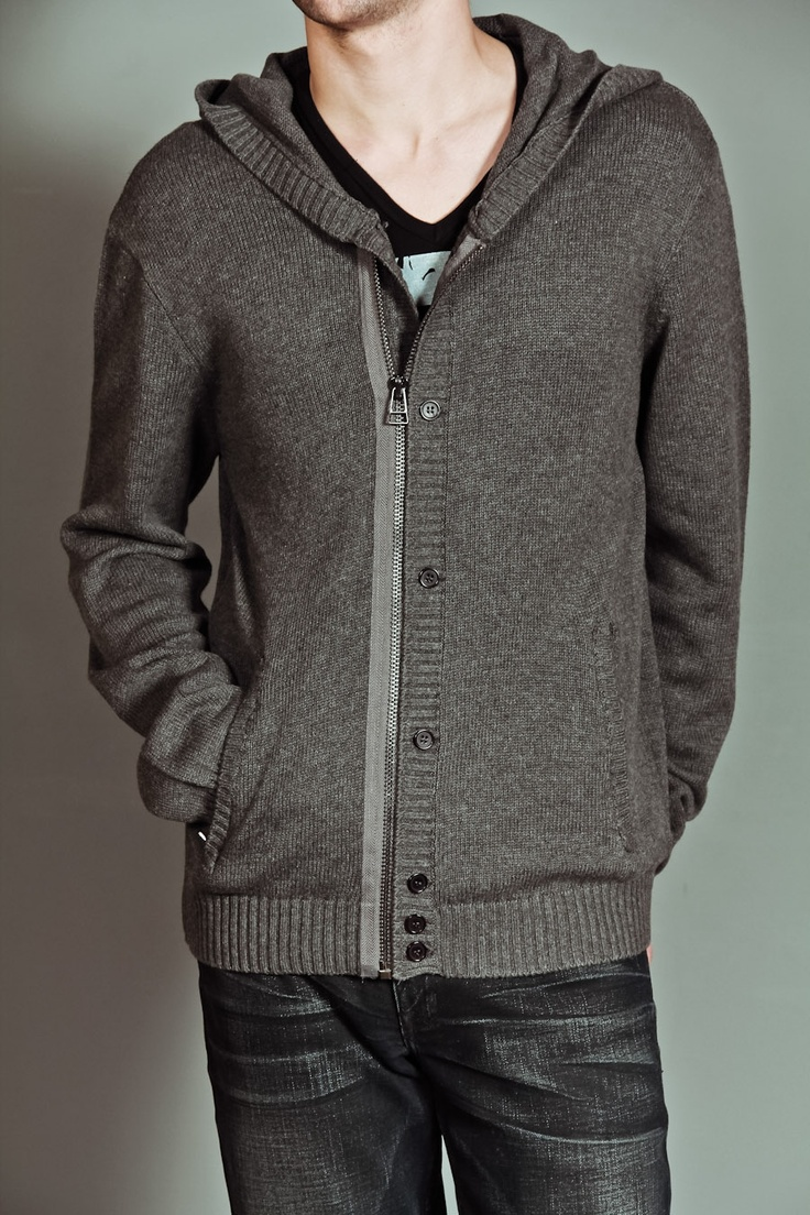 MG Black Label Hooded Cardigan with Rib Placket Detail and Zipper & Button Closure Charcoal