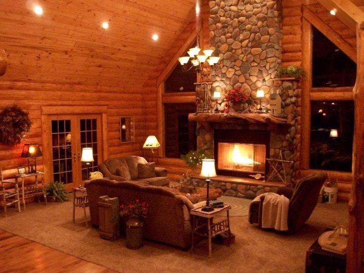 Stone fireplace in log house for Log home fireplaces