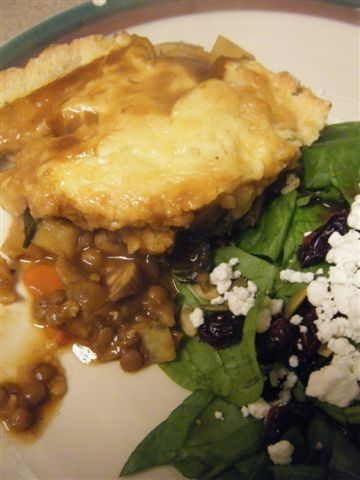 Mushroom and Lentil Pot Pie with Gouda Biscuit Topping