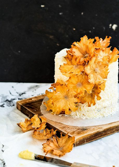 Layered Passion Fruit Butter Cake with Coconut Cream Frosting and ...
