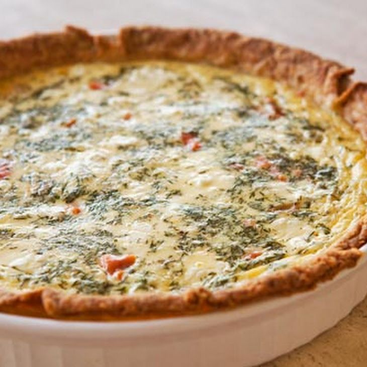 Smoked Salmon, Dill, and Goat Cheese Quiche Recipe-double filling ...