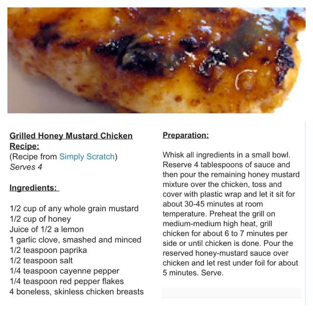 Grilled honey mustard chicken   Dinner   Pinterest