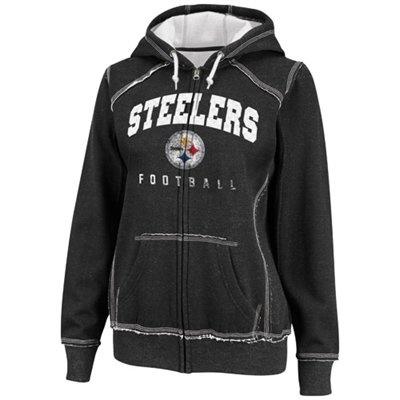 Pittsburgh Steelers Ladies Pure Heritage IV Full Zip Hoodie - Black