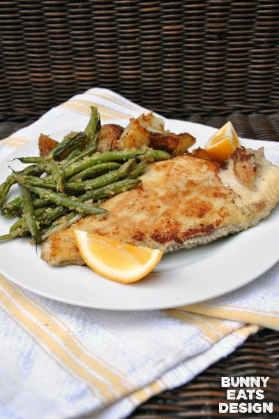Buttery Golden Pan-Fried with crunchy roast potatoes and green beans ...