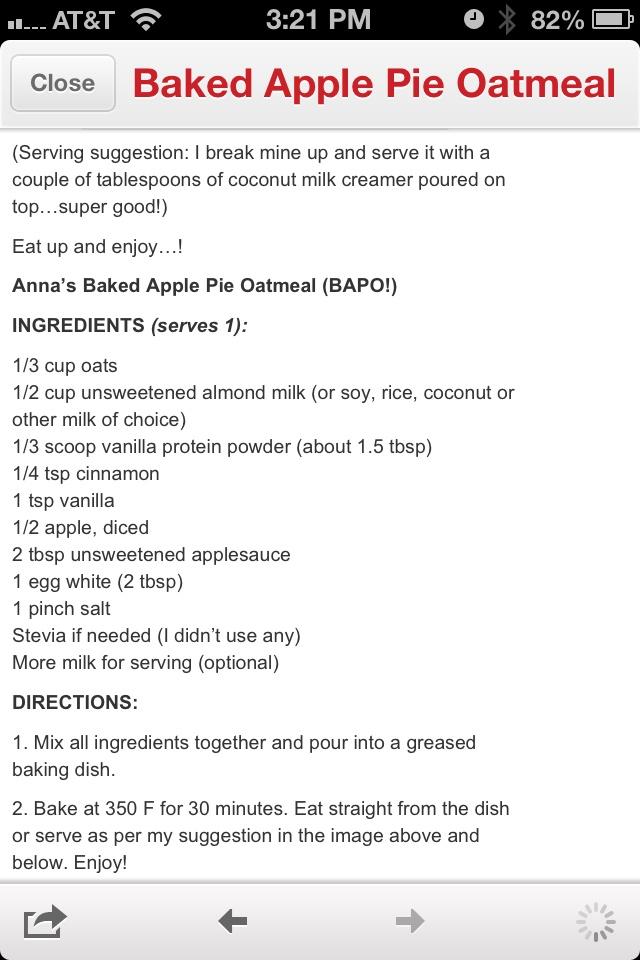 Baked Apple Pie Oatmeal | Clean it up buck | Pinterest