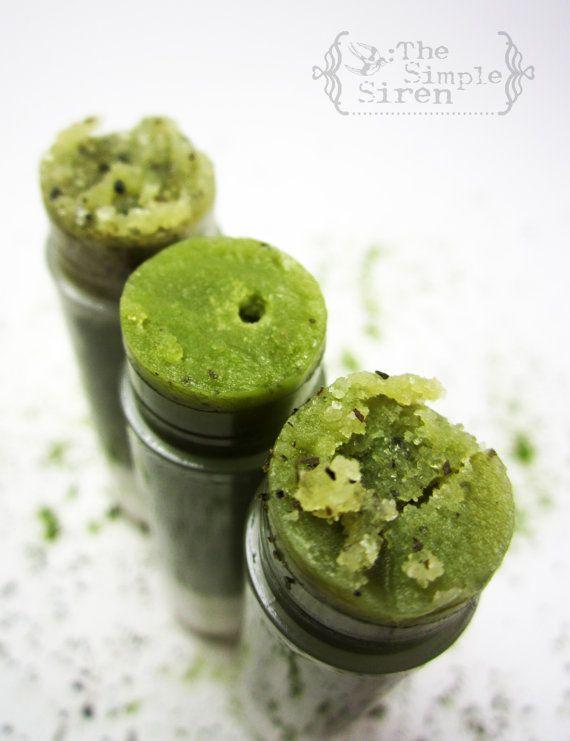Organic Lip Scrub NEW Matcha Tea Sugar Scrub by TheSimpleSiren, $5.25