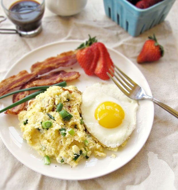 Creamy Scallion Bacon Grits with Runny Eggs Recipe - RecipeChart.com