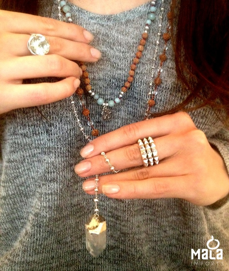 Spotted... a beautiful way to layer your Mala beads. #Yoga #Meditation #MalaBeads