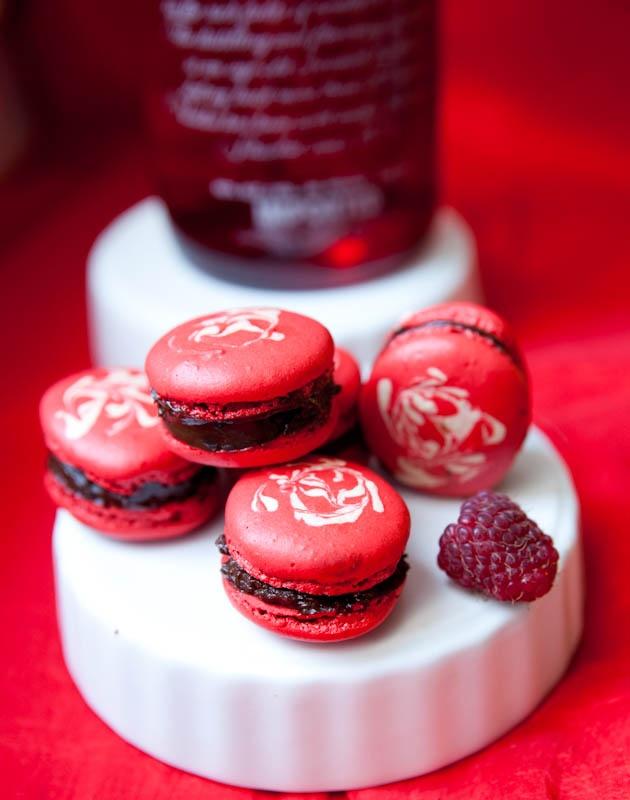 ... my macaron fetish raspberry vodka jelly dark chocolate ganache macaron