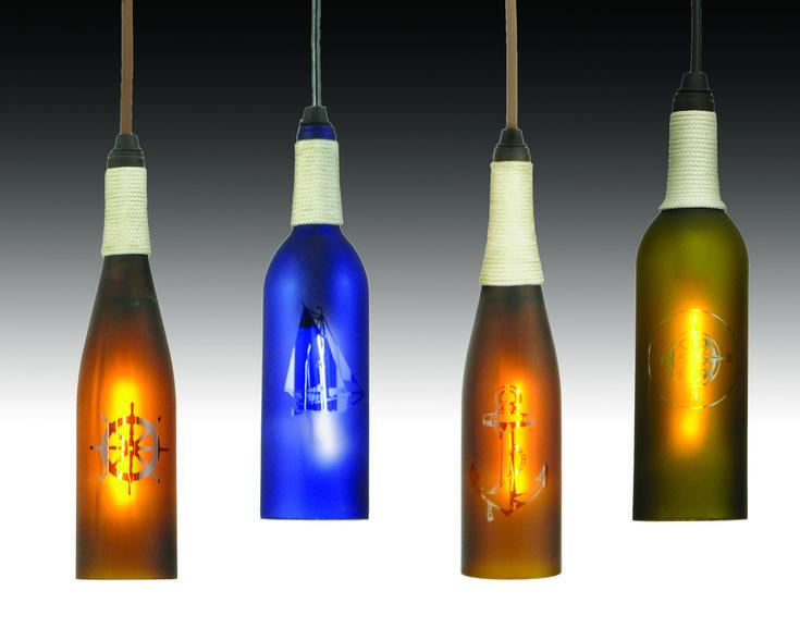 Wine bottle pendants diy recycled glass pinterest - Wine bottle light fixtures ...