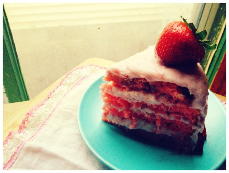 Southern Style Strawberry Cake ~ uses 2-2/3 cups of fresh strawberries