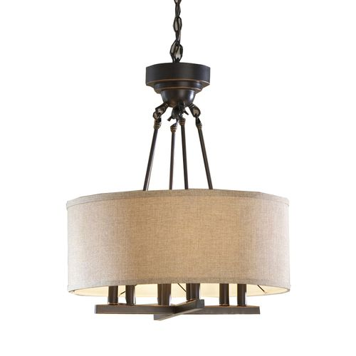 allen roth 20 in w oil rubbed bronze pendant light with fabric shad. Black Bedroom Furniture Sets. Home Design Ideas