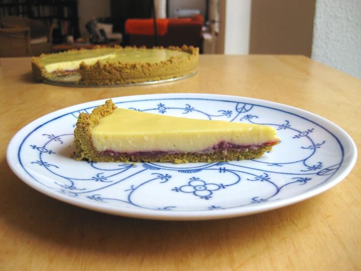 Key Lime Raspberry Tart with Pistachio Crust.
