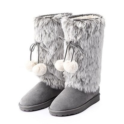 Vancl Women s Fashion Warm Snow Boots Gray, Size 4.5 Short
