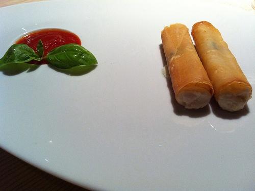 : crispy phyllo cannelloni: ricotta cream, cubed buffalo mozzarella ...