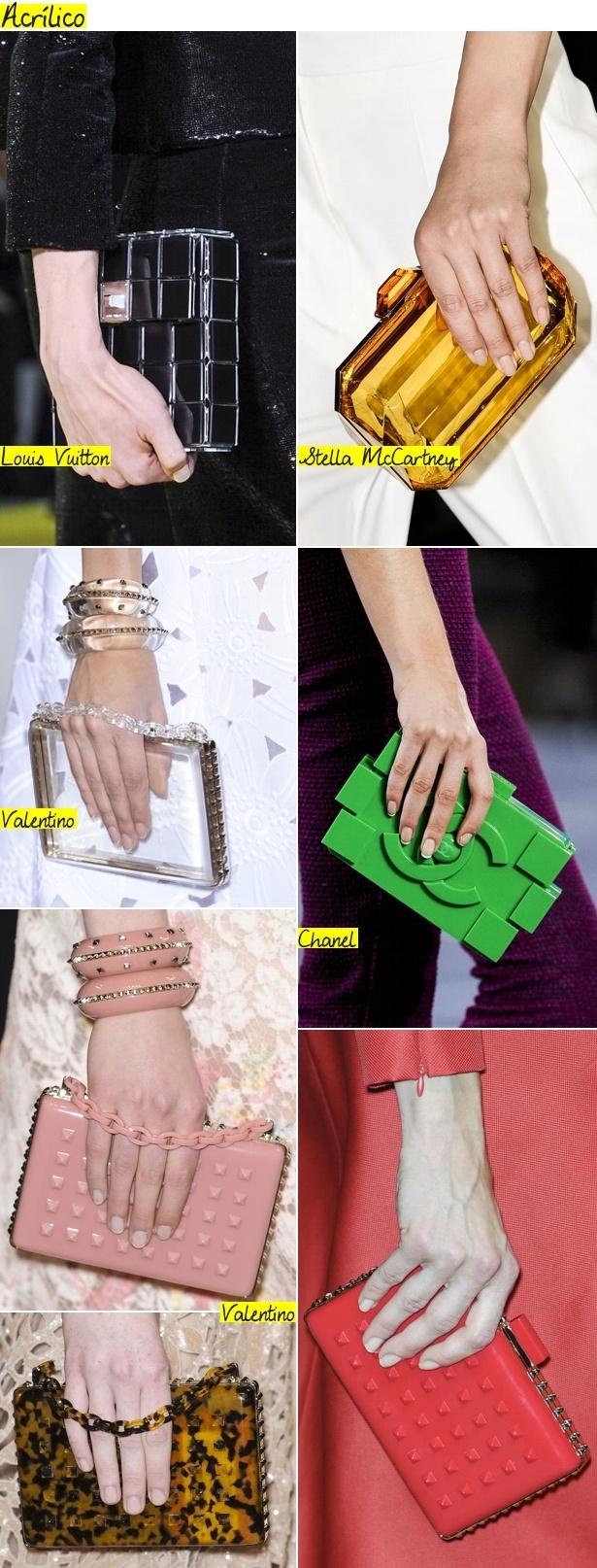 As clutches de acrílico seguem firmes e fortes. As de Valentino, com tachinhas de acrílico em alto relevo,têm tudo para bombarem!