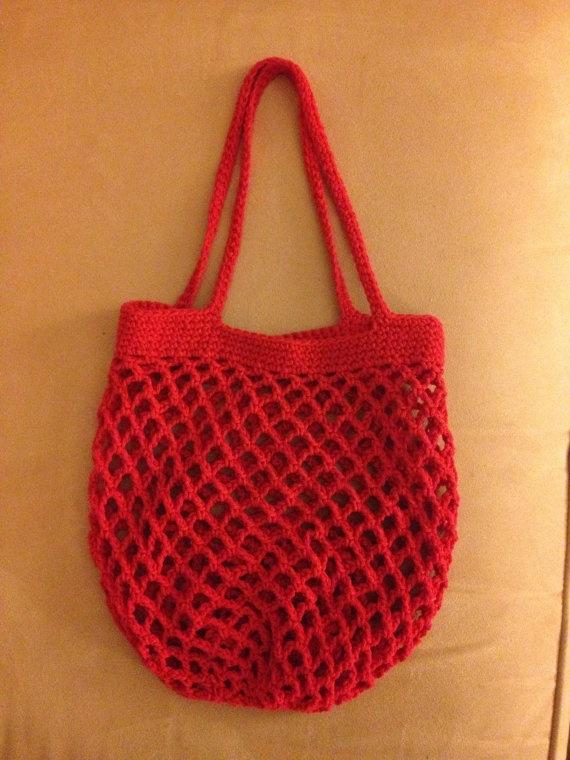 Crochet Cotton Bag : Mesh Cotton Crochet Market Bag Red by ElectricLadybug on Etsy