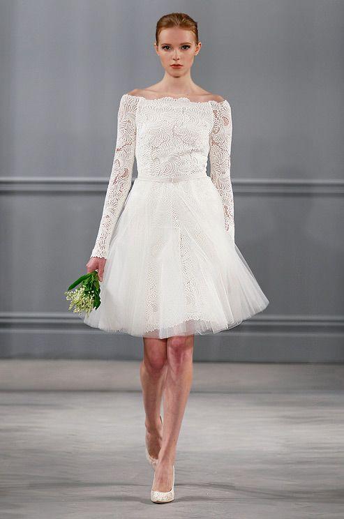 Vestido de novia corto. Monique Lhuillier, Spring 2014