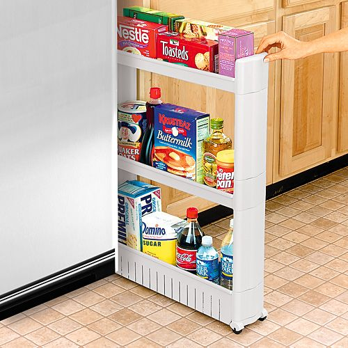This slim, slide-out pantry is useful in a kitchen with limited space. It can fit in small spaces, making use of the room you might have between your fridge and counter.