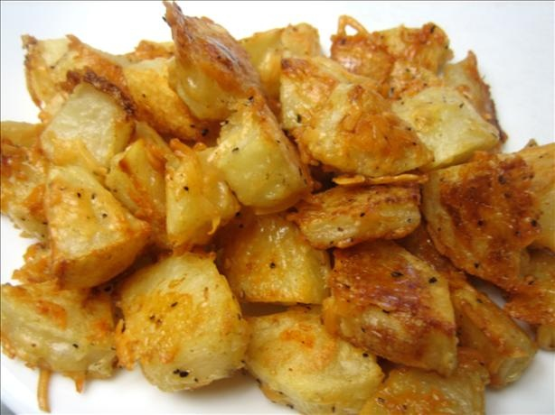 ... oven-baked parmesan potatoes (with garlic powder instead of cumin