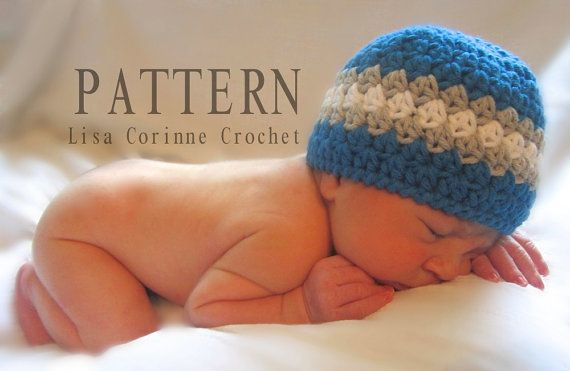 Baby Boy Newborn Hat Crochet Pattern : Newborn Hat, Baby Boy Hat Crochet PATTERN, Instant ...