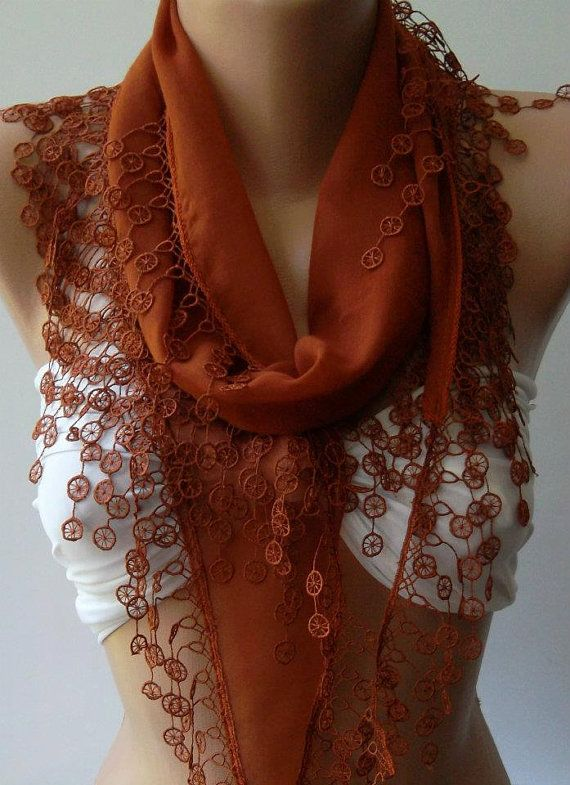 Brick color  Elegance Shawl / Scarf with Lace Edge by womann, $16.90