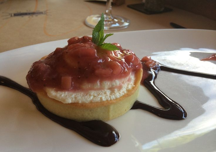sweet ricotta tart, rhubarb compote | Cafes & Restaurants | Pinterest