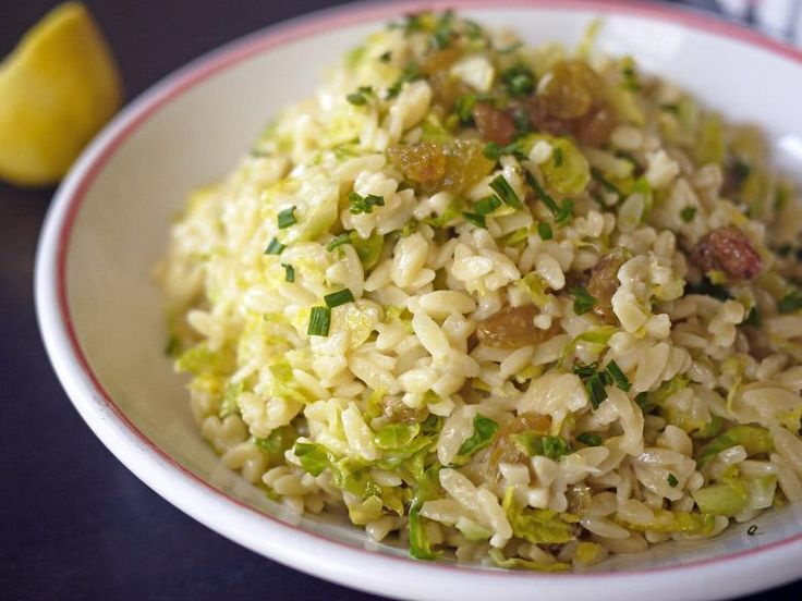 warm orzo salad with brussels sprouts and golden raisins