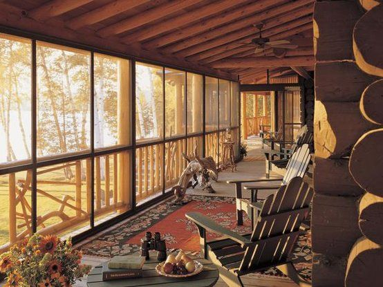 Sunroom screened porch perfect rustic retreats for Log cabin sunrooms