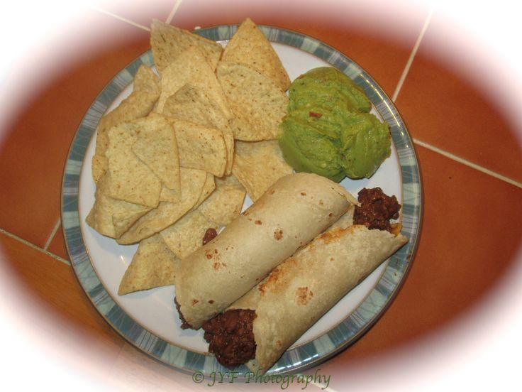 "Chili Burritos with Chips & Guac: Vegetarian ""ground beef"" blen..."