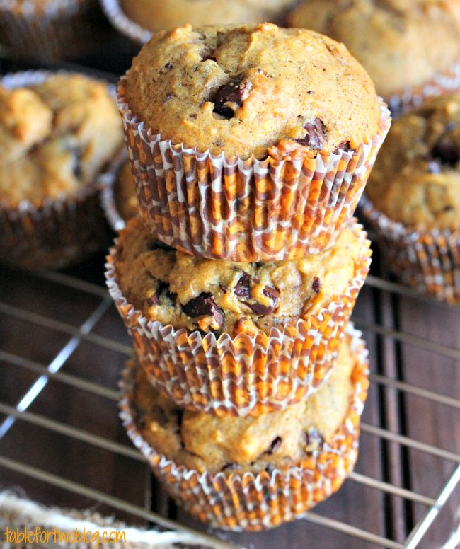 Pumpkin Spice Chocolate Chunk Muffins by @Julie {Table for Two}