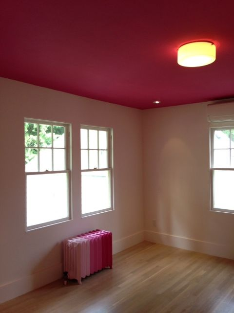 Hot pink ceiling light pink walls pink ombre radiator for a little