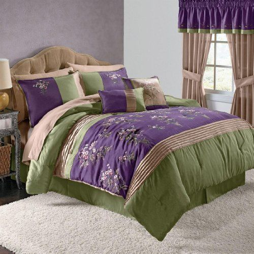 Purple and green bedding home design 2017 - Green and purple comforter ...