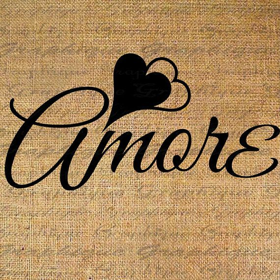 Amore with hearts word calligraphy digital image download